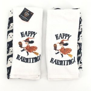 Set of 4 Halloween Witch Ghost Kitchen Towels